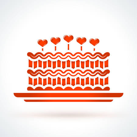 Cake with hearts. St. Valentines Day vector design element. Love, wedding or dating romantic decorative symbol