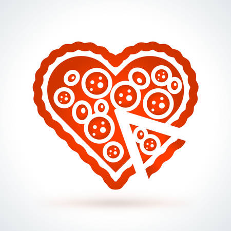 Heart shaped pizza. St. Valentines Day vector design element. Love, wedding or dating romantic decorative symbol