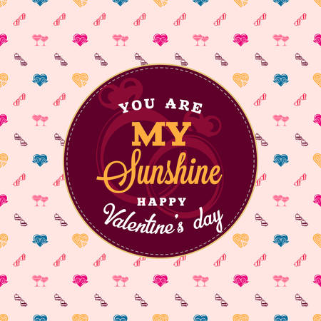 Happy Valentines say typography greeting card. Design vector template with seamless background and romantic signs. Illustration
