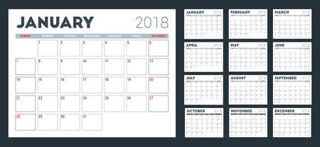 Calendar planner for 2018 year, Week starts on Sunday.