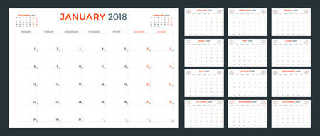 calendar planner for 2018 year template stock vector 95643119