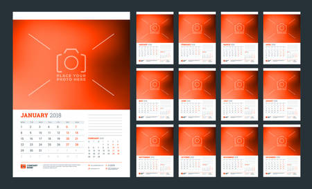 Wall calendar planner for 2018 year. Week starts on Monday. Vector design print template Illustration