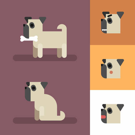 Cute funny dog set with different emotions. Standing, sitting, angry, shame, curiosity.