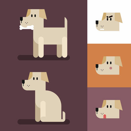 Cute funny dog set with different emotions