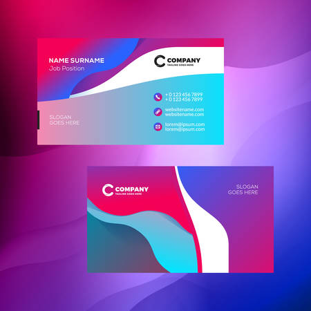 Double-sided horizontal business card template with abstract background. Vivid gradients. Vector mockup illustration. Stationery design Иллюстрация