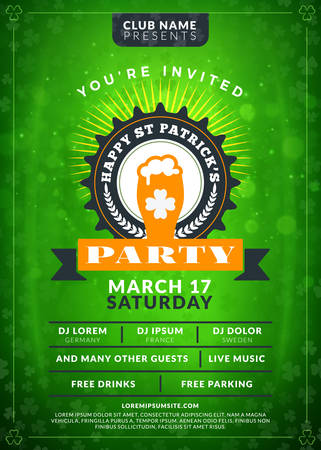 Typography poster or flyer template for St. Patricks day party. Vintage beer label on the green background with light effects