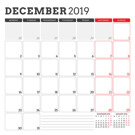 Calendar planner for December 2019. Week starts on Monday. Printable vector stationery design template Illustration