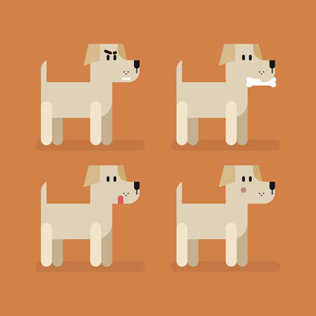 Cute funny dog Labrador set with different emotions. Standing, eating, angry, shame, curiosity