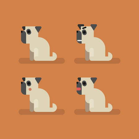 Cute funny dog pug set with different emotions. Sitting, eating, angry, shame, curiosity