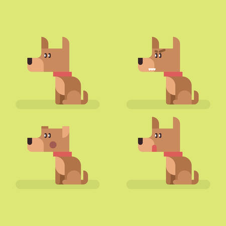 Cute funny dog corgi set with different emotions. Sitting, eating, angry, shame, curiosity Illustration