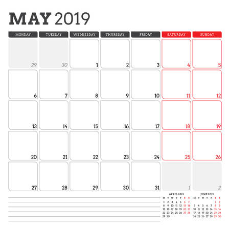 Calendar planner for May 2019. Week starts on Monday. Printable vector stationery design template