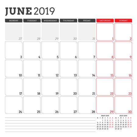 Calendar planner for June 2019. Week starts on Monday. Printable vector stationery design template Illustration
