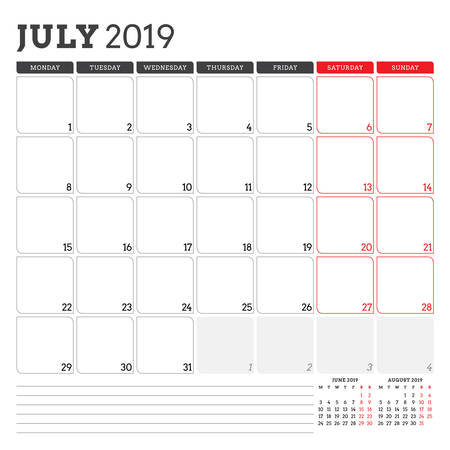 Calendar planner for July 2019. Week starts on Monday. Printable vector stationery design template