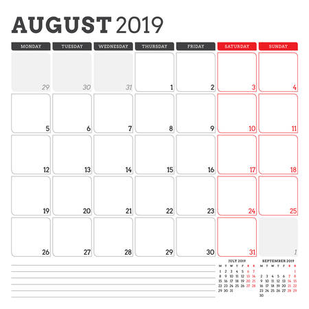 Calendar planner for August 2019. Week starts on Monday. Printable vector stationery design template