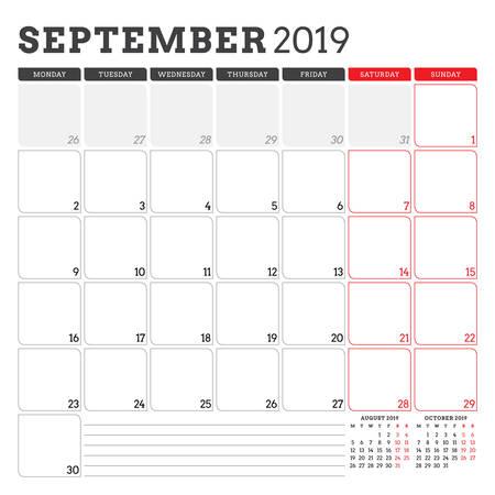 Calendar planner for September 2019. Week starts on Monday. Printable vector stationery design template