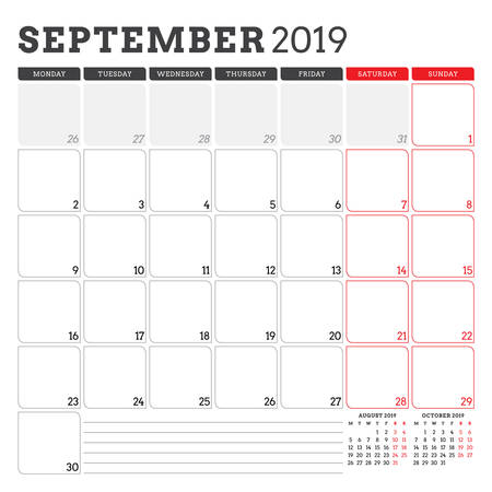 Calendar planner for September 2019. Week starts on Monday. Printable vector stationery design template