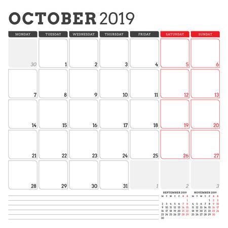 Calendar planner for October 2019. Week starts on Monday. Printable vector stationery design template 矢量图像
