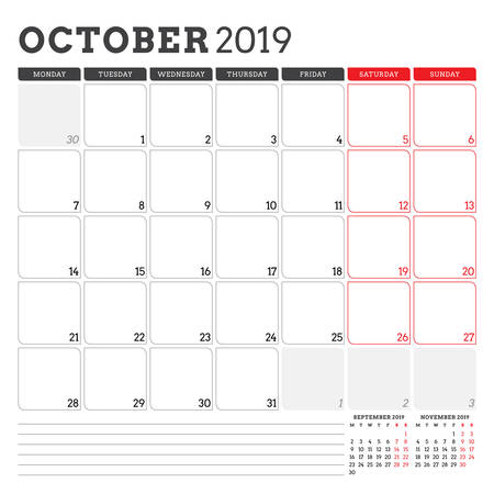 Calendar planner for October 2019. Week starts on Monday. Printable vector stationery design template Vettoriali