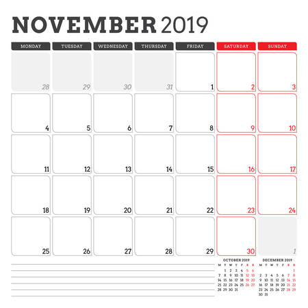 Calendar planner for November 2019. Week starts on Monday. Printable vector stationery design template