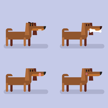 Cute funny dog dachshund set with different emotions.