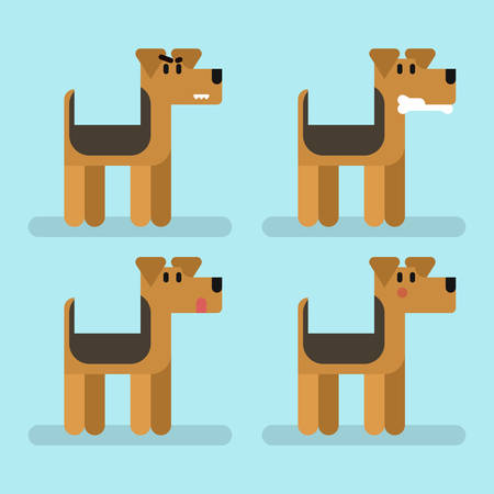 Cute funny dog welsh terrier set with different emotions.