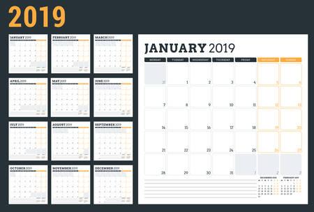 Planificador de calendario para el año 2019. La semana comienza el lunes. Conjunto de 12 meses. Plantilla de diseño de papelería de vector imprimible