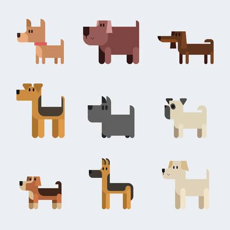 Dog breeds. Vector flat illustration set isolated on white.