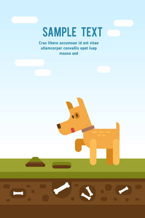 Cartoon charachter little dog looking for a bone. Vector flat illustration