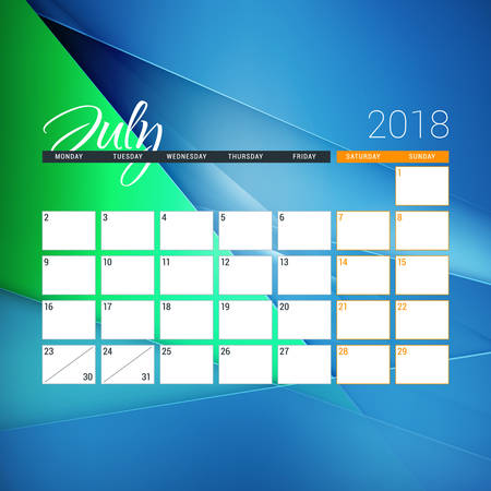 July 2018. Calendar planner design template with abstract background. Week starts on Monday