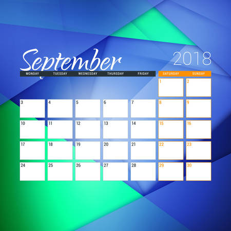September 2018. Calendar planner design template with abstract background. Week starts on Monday