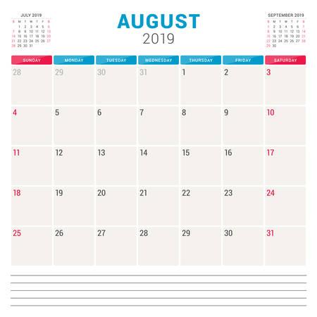 Calendar planner for August 2019. Week starts on Sunday. Printable vector stationery design template.
