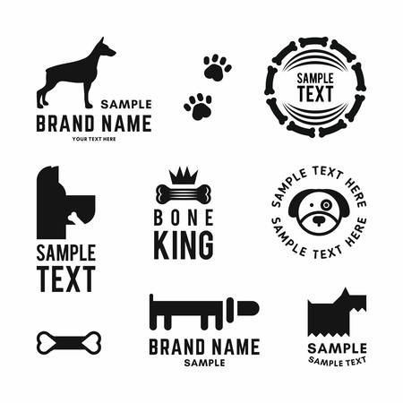Set of vector dog icon and icons for dog club or shop.