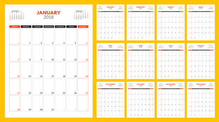 Calendar planner for 2018 year. Week starts on Sunday. Vector design print template.
