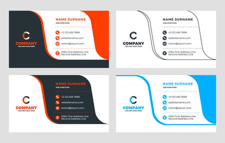 Creative Business Card Template. Flat Design Vector Illustration. Stationery Design. 4 Color Combinations. Print Template