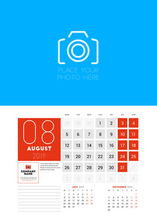 Wall calendar planner template for August 2019. Week starts on Monday. Vector illustration