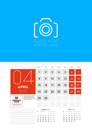 Wall calendar planner template for April 2019. Week starts on Monday. Vector illustration Illustration