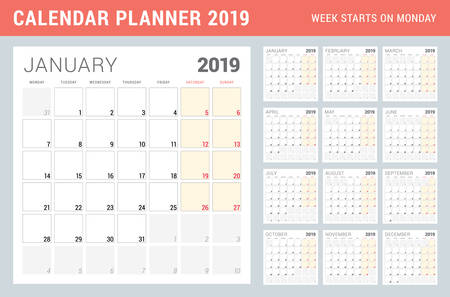 Calendar planner for 2019 year. Week starts on Monday. Printable vector stationery design template. Set of 12 months