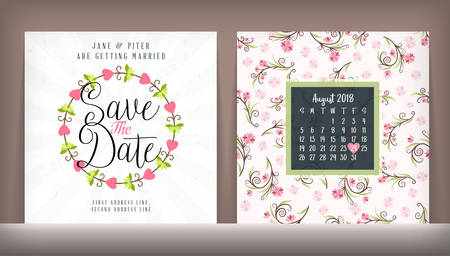 601 double date stock illustrations cliparts and royalty free wedding invitation double sided card design template with cute floral background stopboris Choice Image