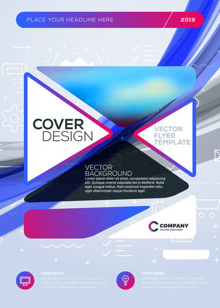 Vector business brochure cover design template. Abstract background with colorful gradients. Vector illustration. Geometric shapes with rounded edges