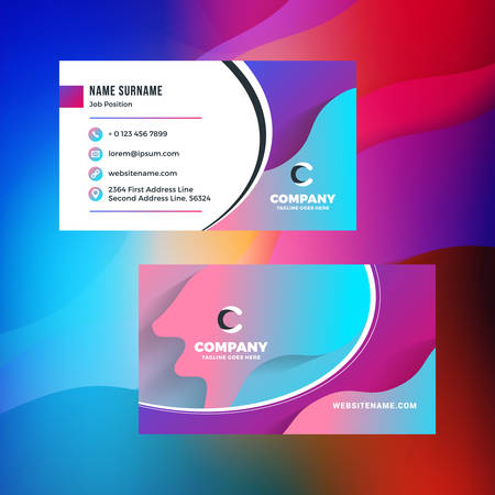 Double-sided horizontal business card template with abstract background. Vivid gradients. Vector mockup illustration. Stationery design