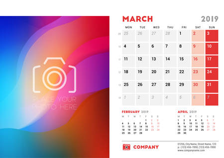 March 2019. Desk Calendar design template with place for photo. Week starts on Monday. Three months on page. Vector illustration