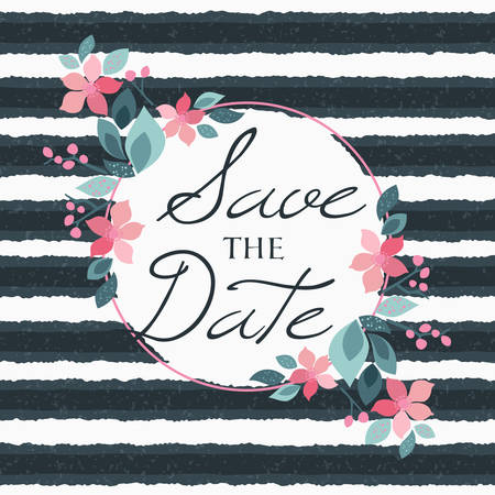Save the date. Wedding invitation floral elements on stripped background. Typographic design.