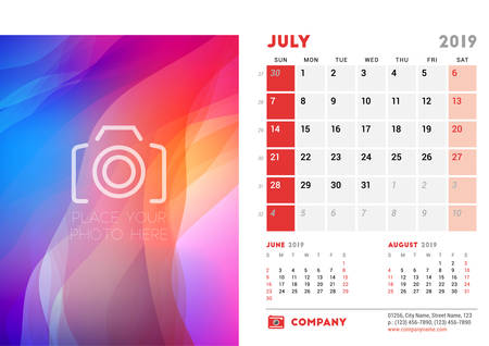 July 2019. Desk Calendar design template with place for photo. Week starts on Sunday. Three months on page. Vector illustration
