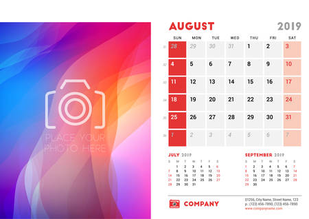 August 2019. Desk Calendar design template with place for photo. Week starts on Sunday. Three months on page. Vector illustration