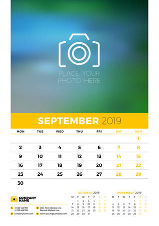 Wall calendar planner template for 2019 year. 3 months on the page. September, October, November. Week starts on Monday. Vector illustration