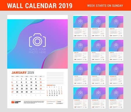 Wall calendar planner template for 2019 year. Set of 12 months. Week starts on Sunday. Vector illustration Illustration