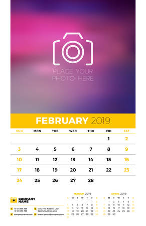 Wall calendar planner template for 2019 year. 3 months on the page. February, March, April. Week starts on Sunday. Vector illustration