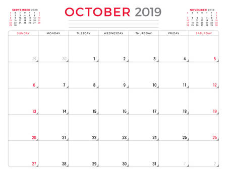 October 2019. Calendar planner stationery design template. Vector illustration. Week starts on Sunday