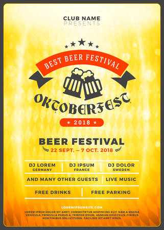 Oktoberfest beer festival celebration. Typography poster or flyer template for beer party. Vintage beer label on the golden beer background with light effects