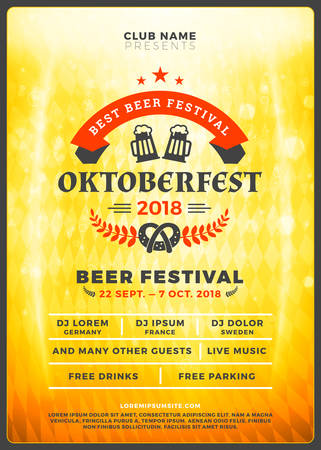 Oktoberfest beer festival celebration. Typography poster or flyer template for beer party. Vintage beer label on the golden beer background with light effects